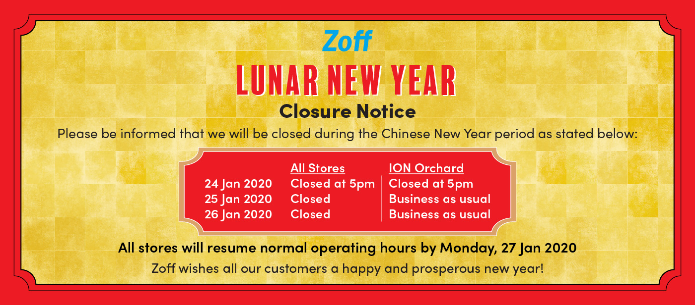 Chinese New Year 2020 Closure Notice