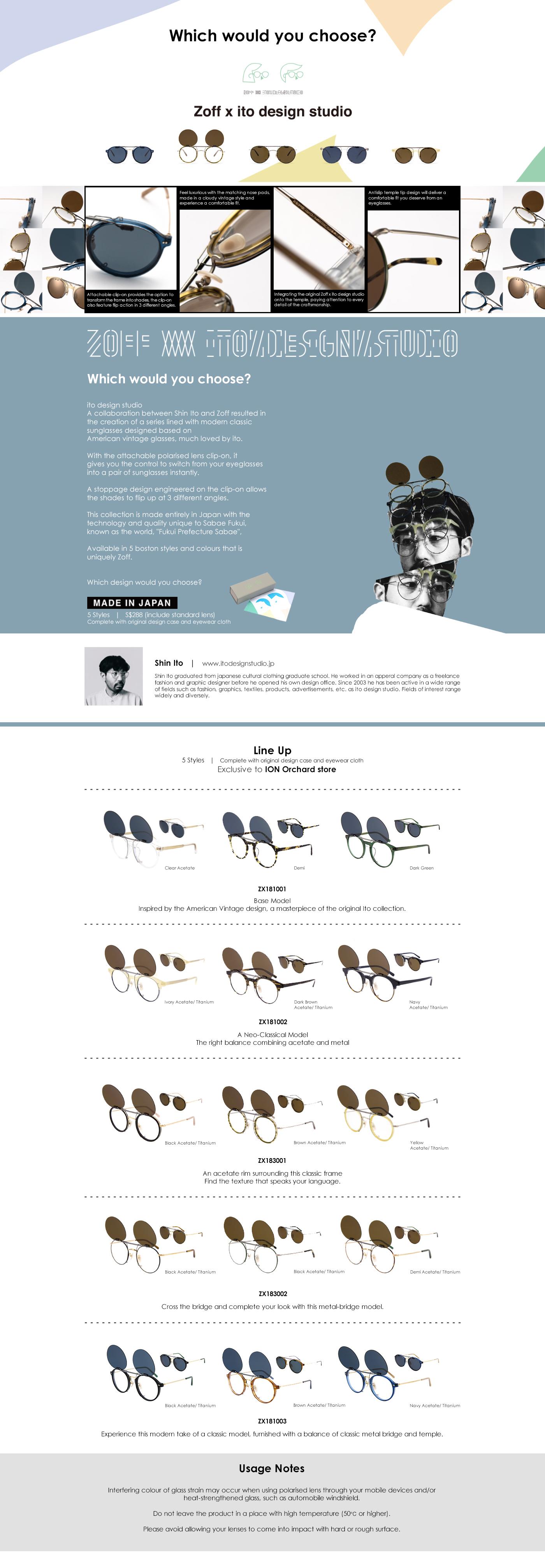 Collection Page - Zoff by ito design studio, clip-on sunglasses