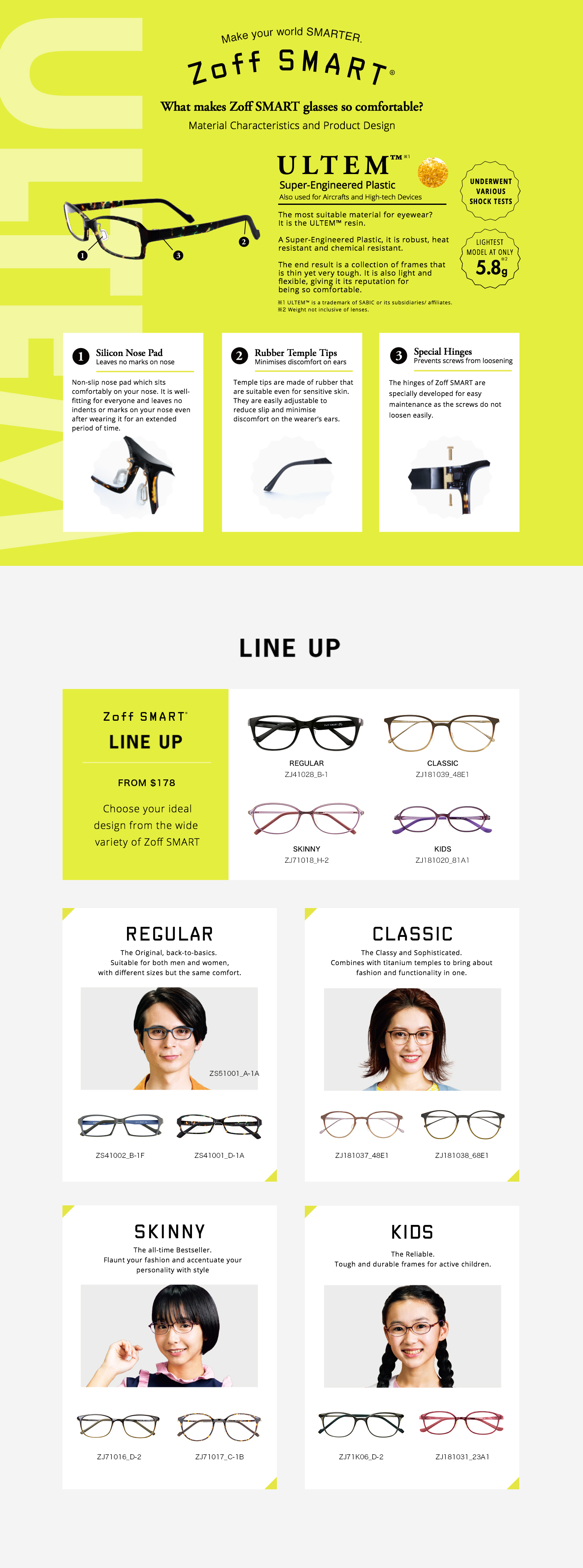 Zoff SMART Collection_Ultem Material_Lightweight Flexible Tough Glasses_Japanese Optical Eyewear_Spectacles
