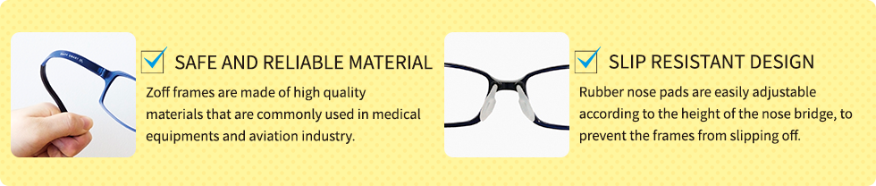 Zoff Kids Eyewear Glasses Unique Selling Point Safe Reliable Material Slip Resistant Design