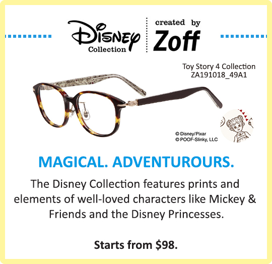 Zoff Kids Disney Collection Glasses Eyewear Toy Story Mickey Princess