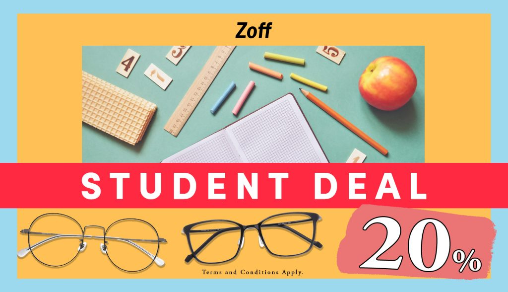 Student Deal_Student Discount 20% on glasses, frames, lenses