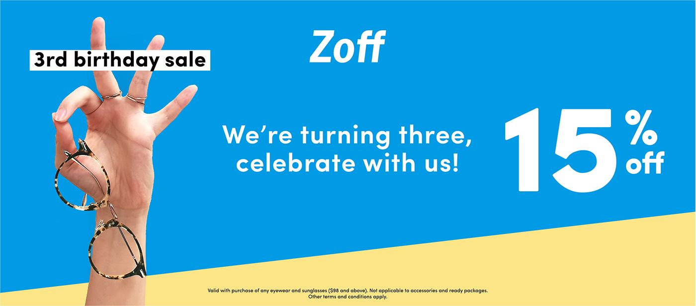 Zoff Third Anniversary Birthday Sale 15% Celebrate Glasses Hand Three