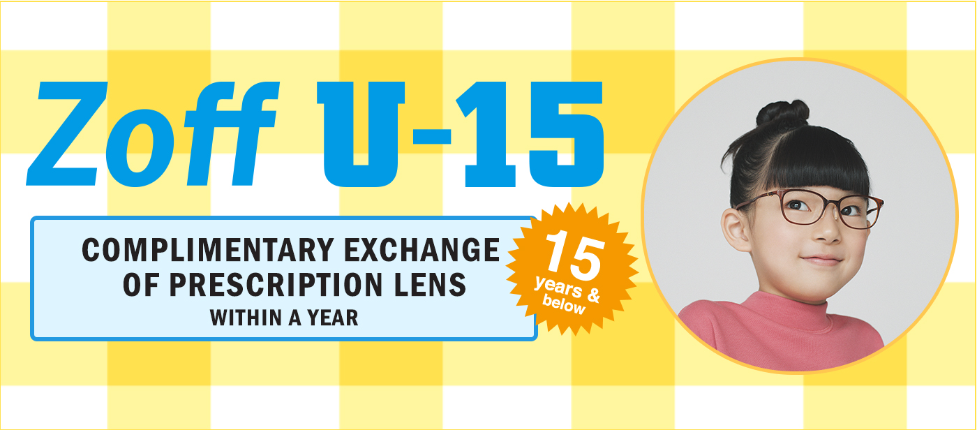 Zoff U-15 Programme Kids Children Boy Girl Glasses Optical Free Lens Prescription Change